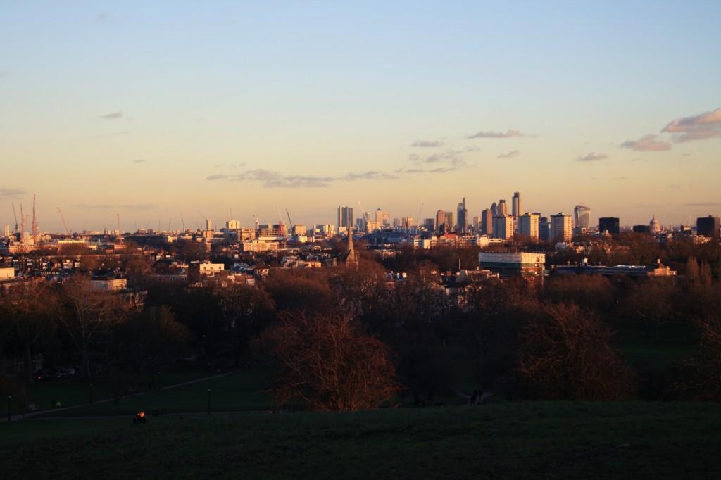 Winter sunset on London