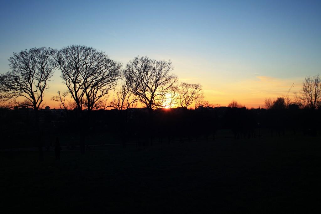 Coucher de soleil d'hiver sur Londres