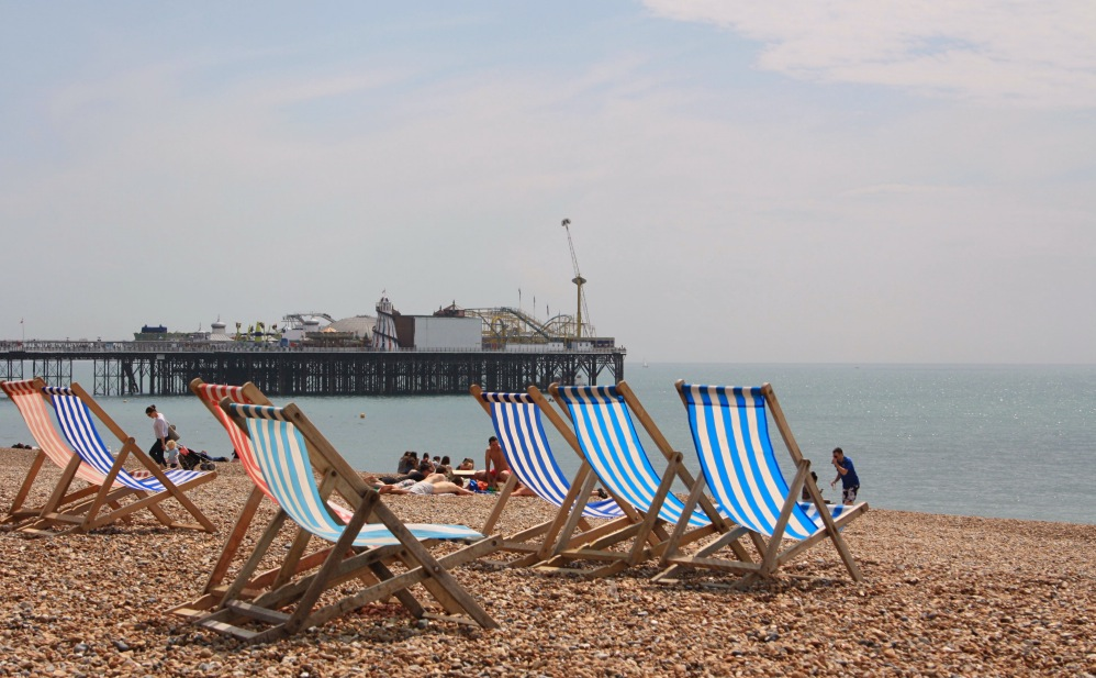 Brighton pier and chairs