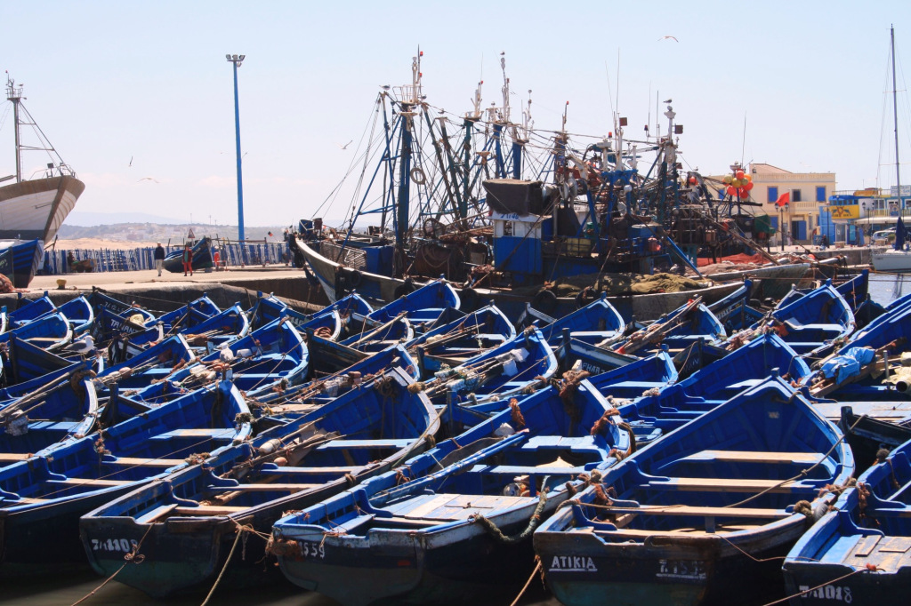 Port Essaouira bateaux bleus 2