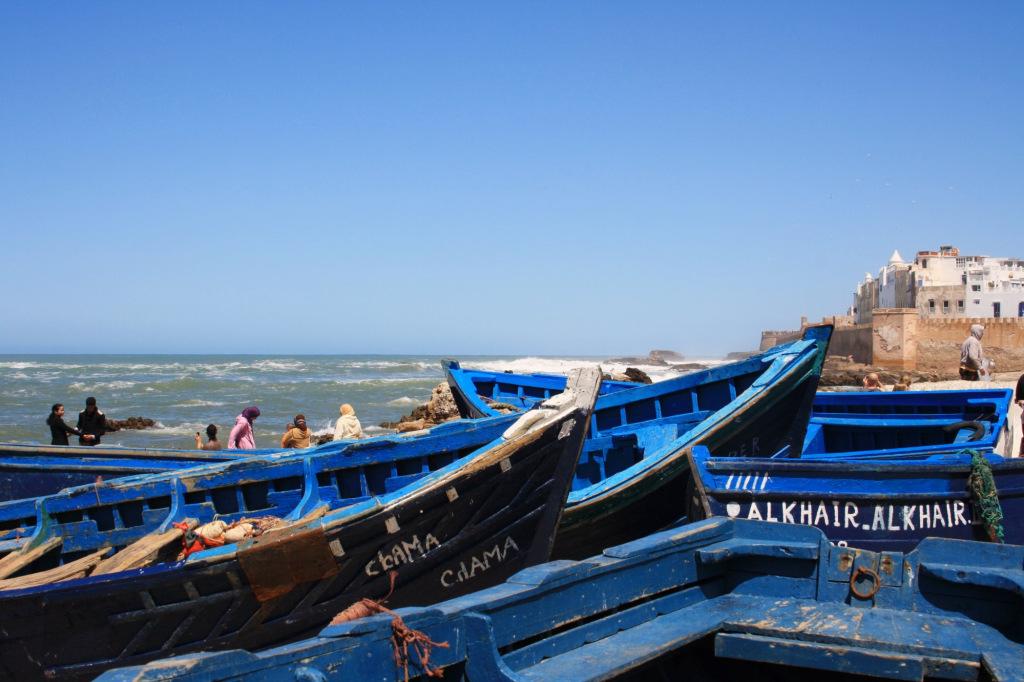 Port Essaouira bateaux bleus