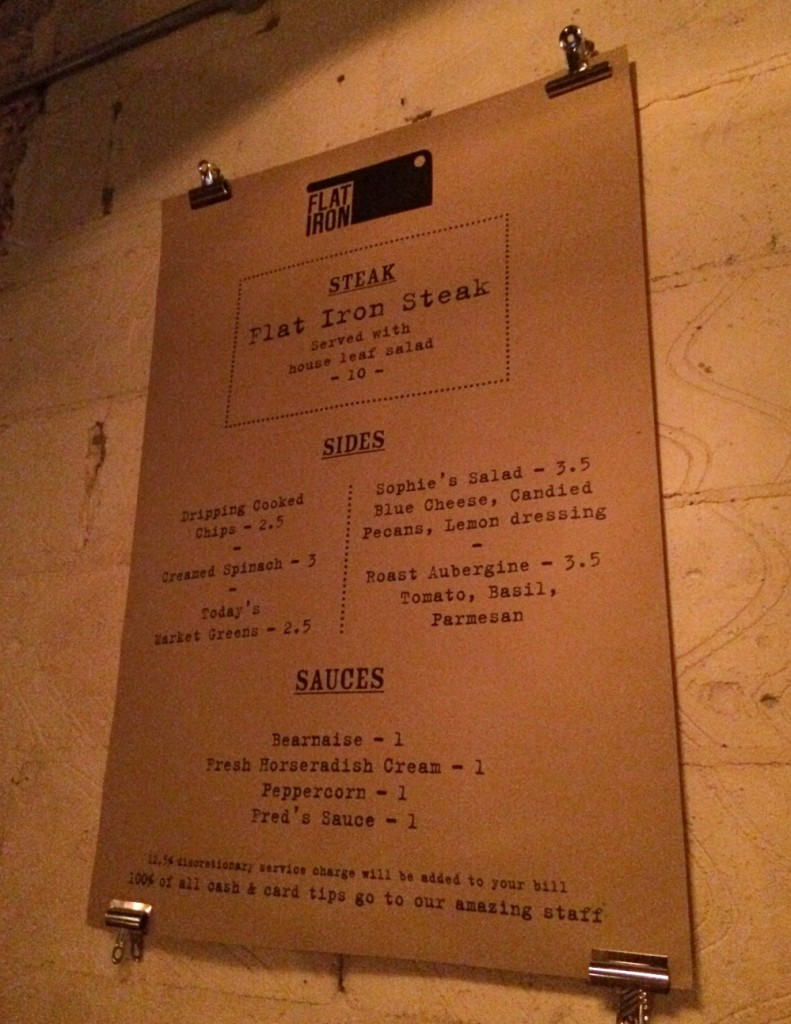 Flat iron menu wall
