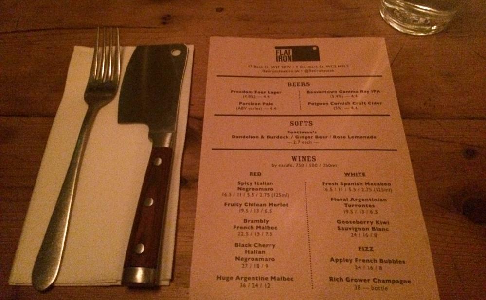 Flat iron menu